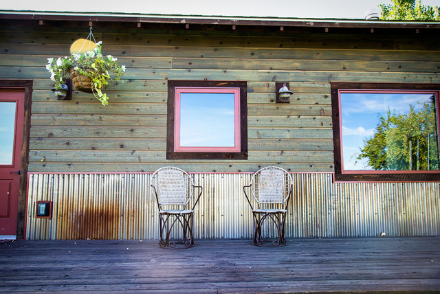 Weathering Steel Corrugated Wainscot Rustic Exterior