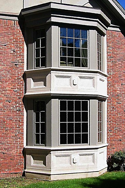 Large Traditional Gray Three Story Stucco Exterior Home Idea In Boston With A Shingle Roof