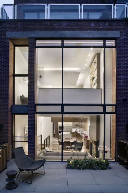 West village townhouse contemporary exterior new for Modern townhouse exterior