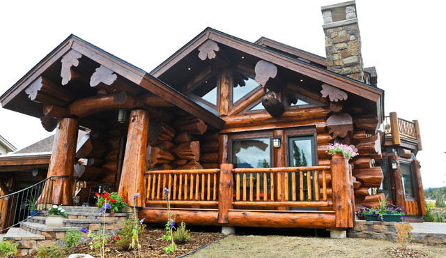 Western Red Cedar Ranch Style Log Home Rustic Exterior Denver