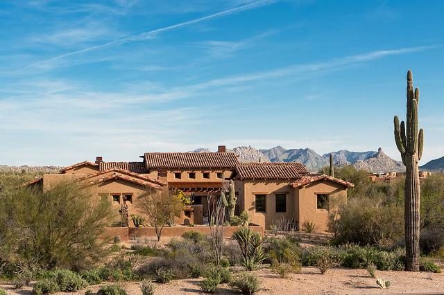 Whisper rock residence southwestern exterior phoenix for Luxury adobe style house plans