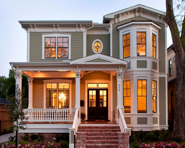 Example Of An Ornate Two Story Exterior Home Design In Houston