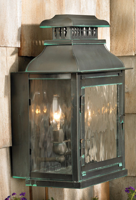 """Williams Towne Collection 1-Light 11"""" Verde Patina Wall Lantern with Water Glass traditional-exterior"""