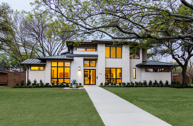 Example Of A Large Trendy White Two Story Brick Exterior Home Design In  Dallas With