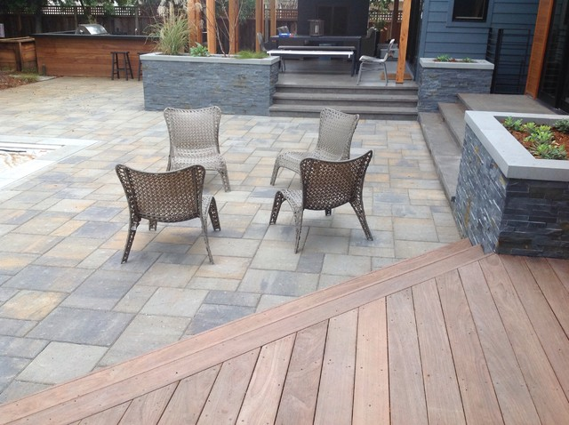 Willow Glen Modern Paver Patio And Wood Deck