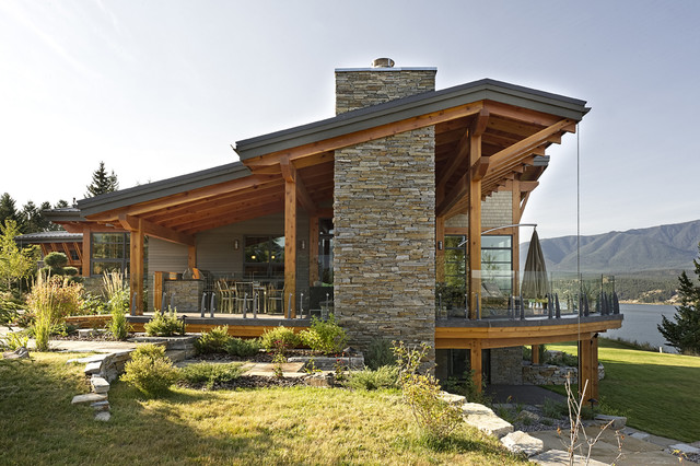 Windermere lakeside residence rustic exterior for Lakeside home designs