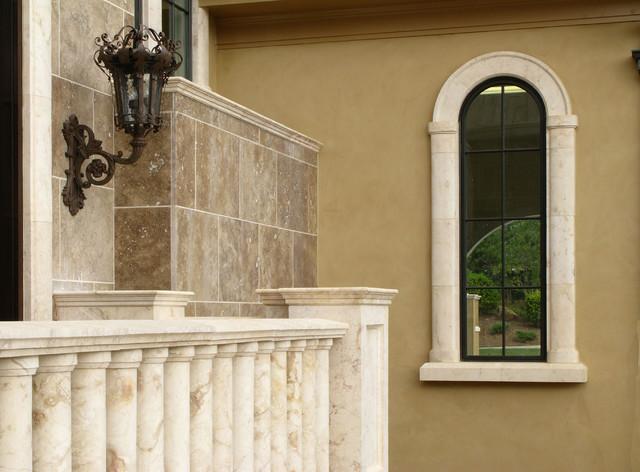 Window surround and porch balustrade mediterranean for Outdoor window frame decor
