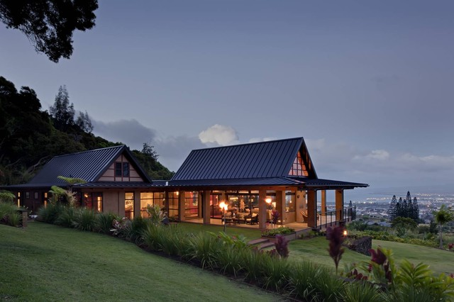 Wing house tropical exterior hawaii by mcclellan for Home plans hawaii