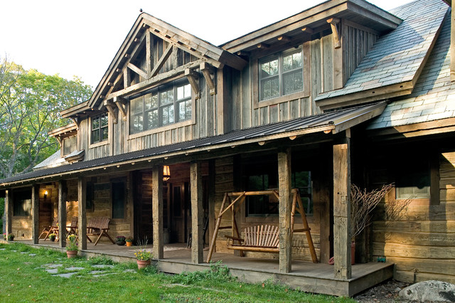 Woman lake rustic exterior minneapolis by big wood for Rustic timber frame homes