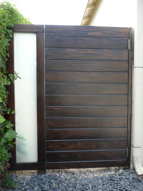 Wood And Frosted Glass Side Gate Brentwood Contemporary Exterior Other
