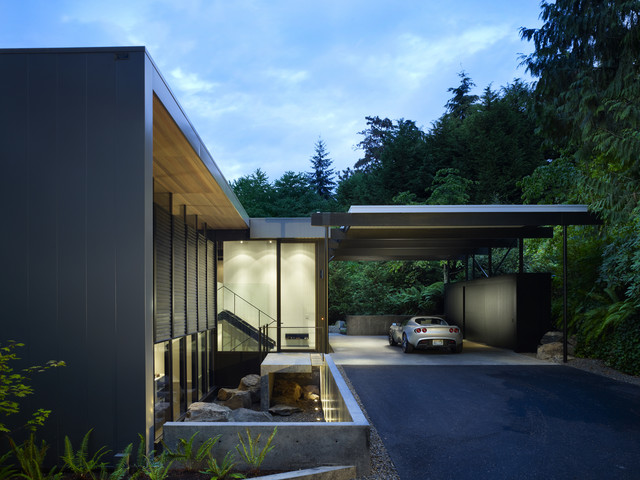 wood block residence modern exterior seattle by