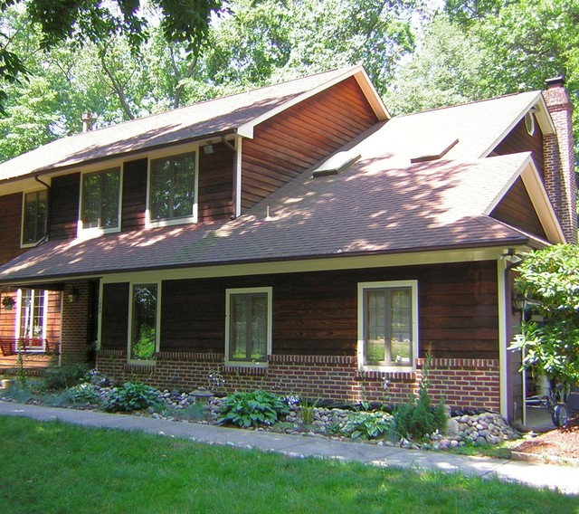 Stained House Siding : Wood house siding stained brown and white in absecon nj