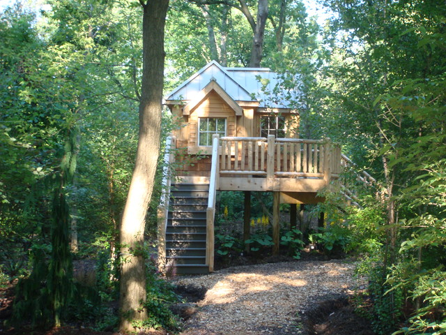 Woodland Tree House Eclectic Exterior Detroit By