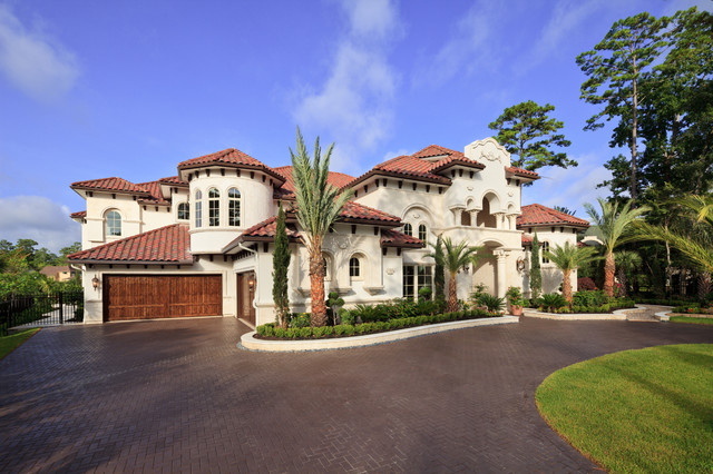 Woodlands custom home mediterranean exterior houston for Custom home plans houston