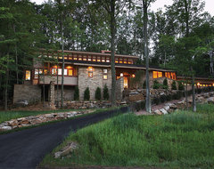 Wright Inspired Home rustic-exterior