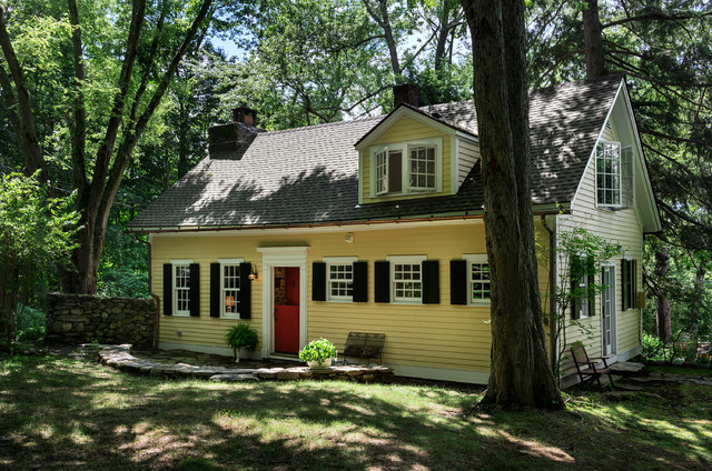 Yellow House Red Door Black Shutters writers' cottage - traditional - exterior - new york -crisp