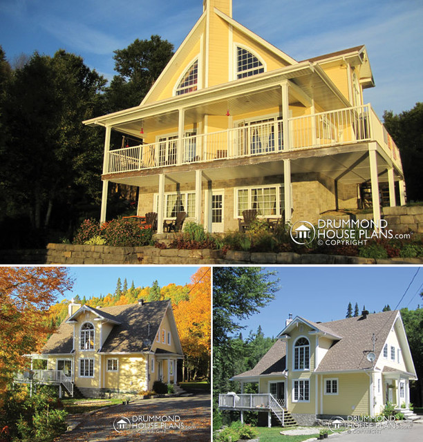Yellow Panoramic Custom Chalet With, Farmhouse Walkout Basement Plans