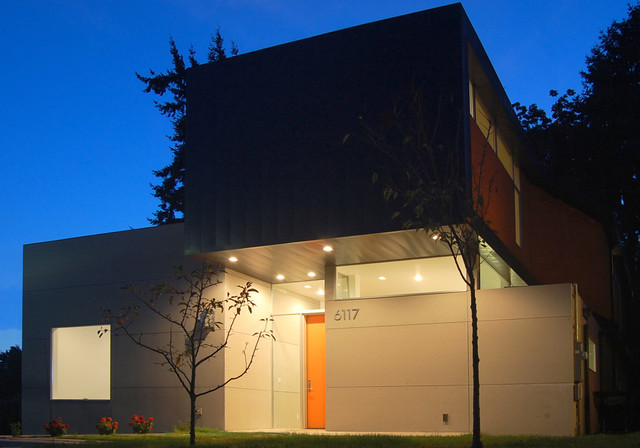 Example Of A Mid Sized Minimalist Two Story Exterior Home Design In Seattle