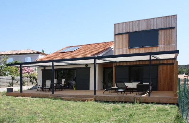 Extension contemporaine ossature bois et r novation d for Extension contemporaine maison traditionnelle