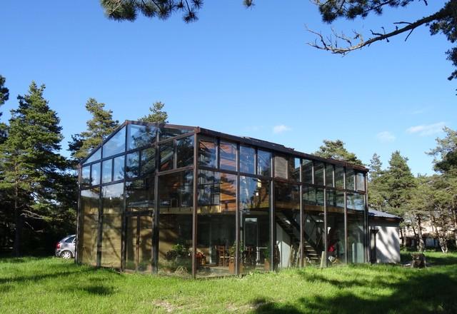 maison bois sous verre contemporain fa ade montpellier par patrick ballester co designer. Black Bedroom Furniture Sets. Home Design Ideas