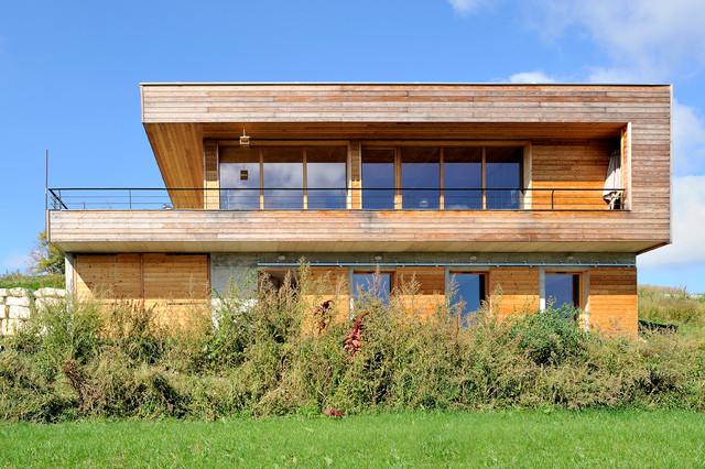 Maison contemporaine béton/bois - Contemporain - Façade ...