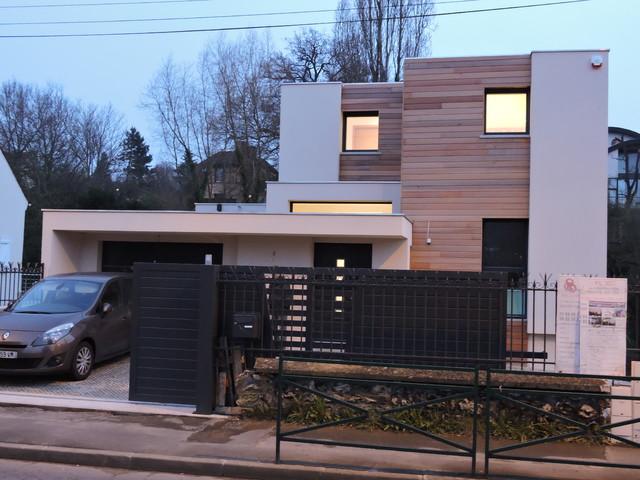 Maison Cube Toit Plat  Orsay  Contemporain  Faade  Paris  Par FlC