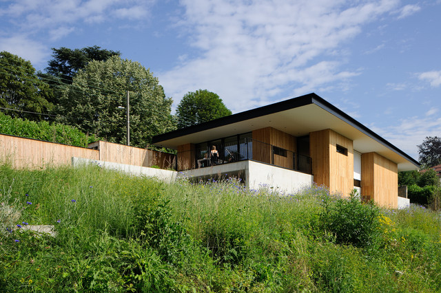 maison tir e contemporain fa ade lyon par barr s coquet architectes. Black Bedroom Furniture Sets. Home Design Ideas