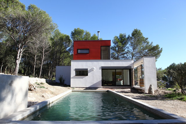 Maison individuelle mixte bois b ton contemporain fa ade montpellier par sarl mobbe - Constructeur maison individuelle montpellier ...