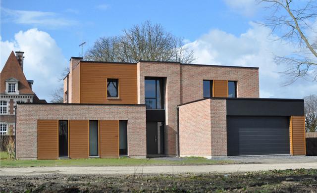 maisons cubiques en briques contemporain fa ade. Black Bedroom Furniture Sets. Home Design Ideas