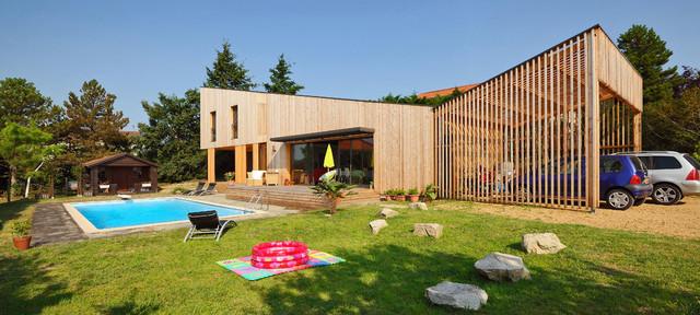 Visite priv e l 39 am nagement ext rieur d 39 une maison cologique en bois - Checklist visite maison ...