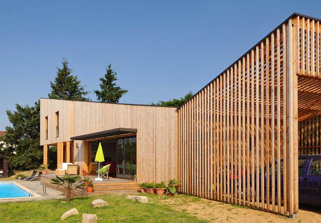 Para maison contemporaine bois cologique for Facade maison en bois