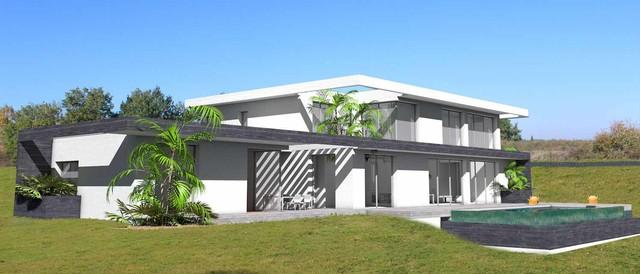 villa d 39 exception sur terrain en pente avec piscine. Black Bedroom Furniture Sets. Home Design Ideas