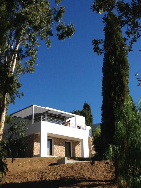 villa fd le lavandou contemporain fa ade nice par rapha l henry biabaud architecte. Black Bedroom Furniture Sets. Home Design Ideas