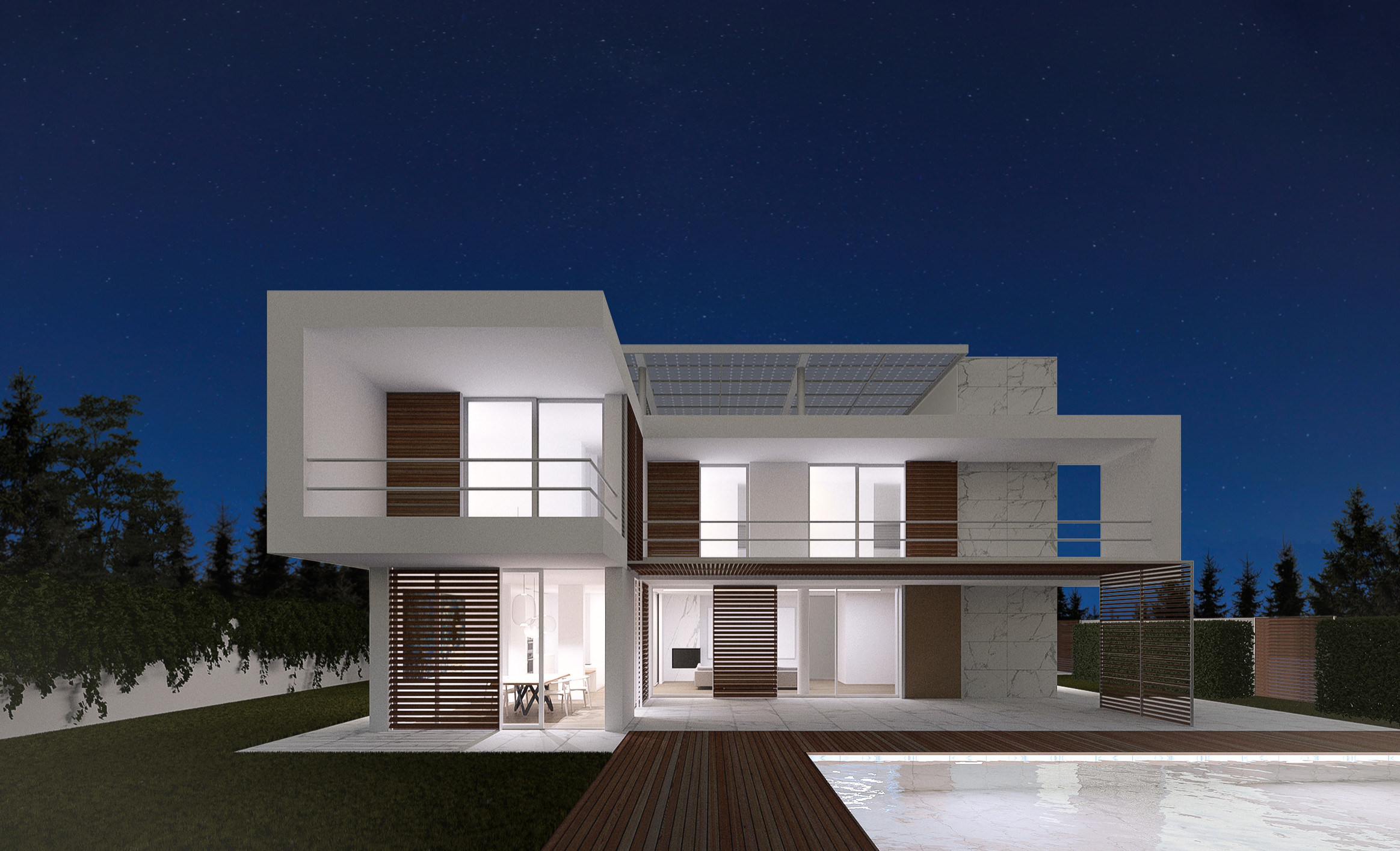 Example of a mid-sized minimalist white two-story stone exterior home design in Catania-Palermo with a mixed material roof