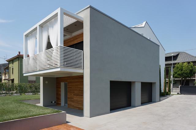 Vista volume ampliamento moderno facciata altro di plus concept studio - Colori case esterni ...