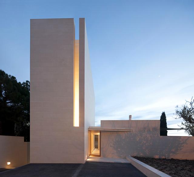 Idées déco pour une façade de maison contemporaine.