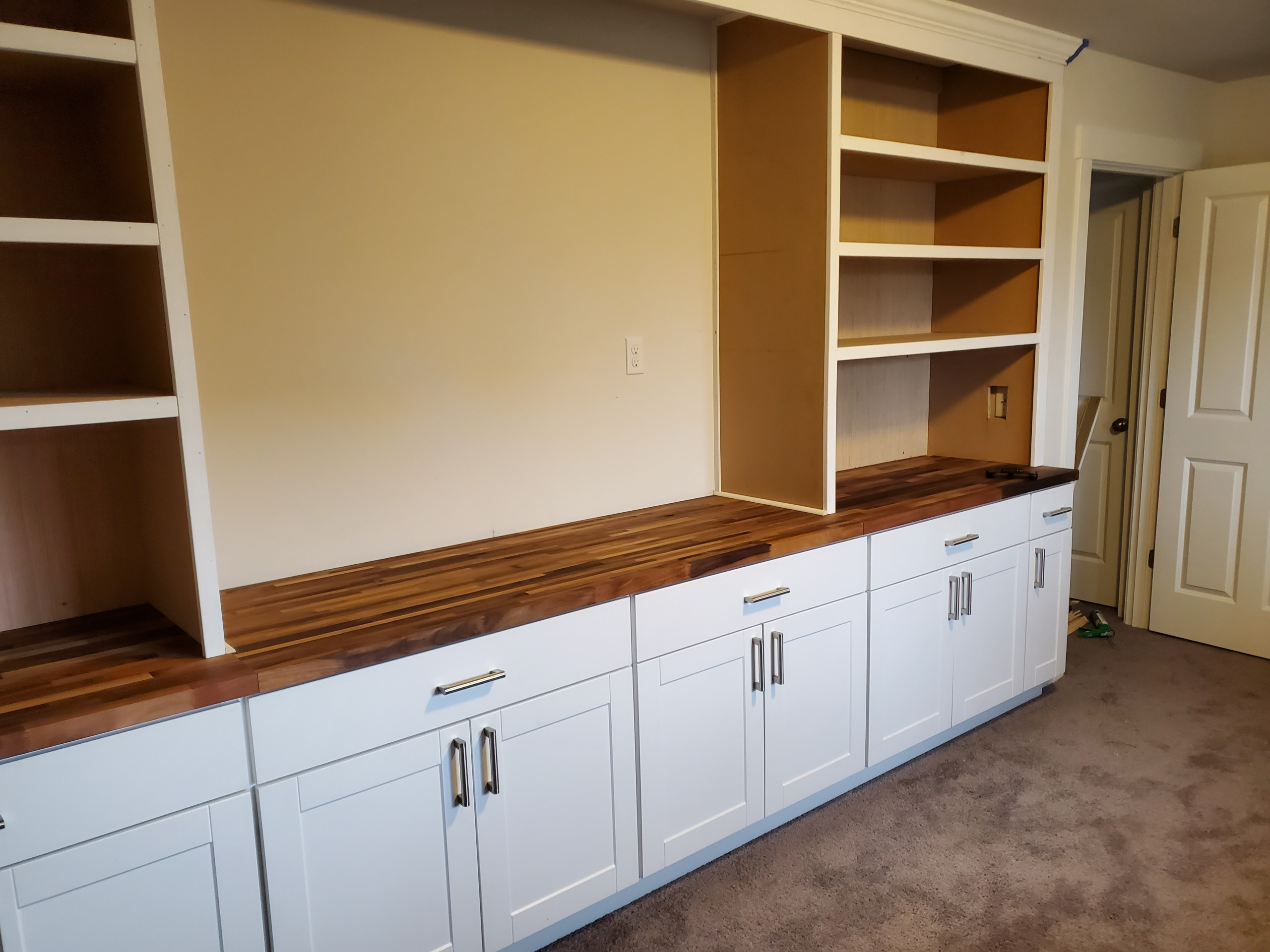 12' long built in cabinet/ with butcher block top
