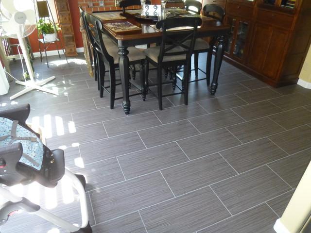 12 X 24 Porcelain Tile Flooring Running Bond Pattern Modern family
