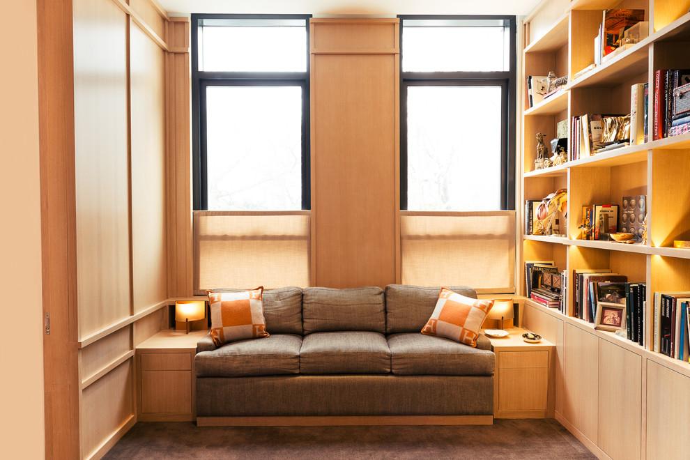 Family room library - contemporary family room library idea in New York