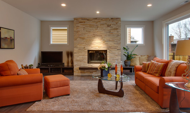 Modern Stone Fireplace in Monabel contemporary-family-room