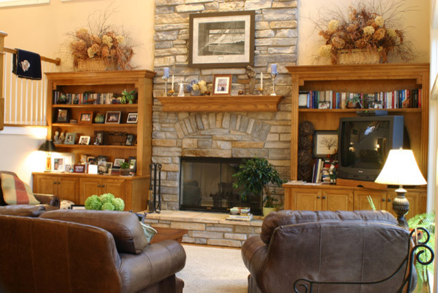 2 Story Stone Fireplace Traditional Family Room
