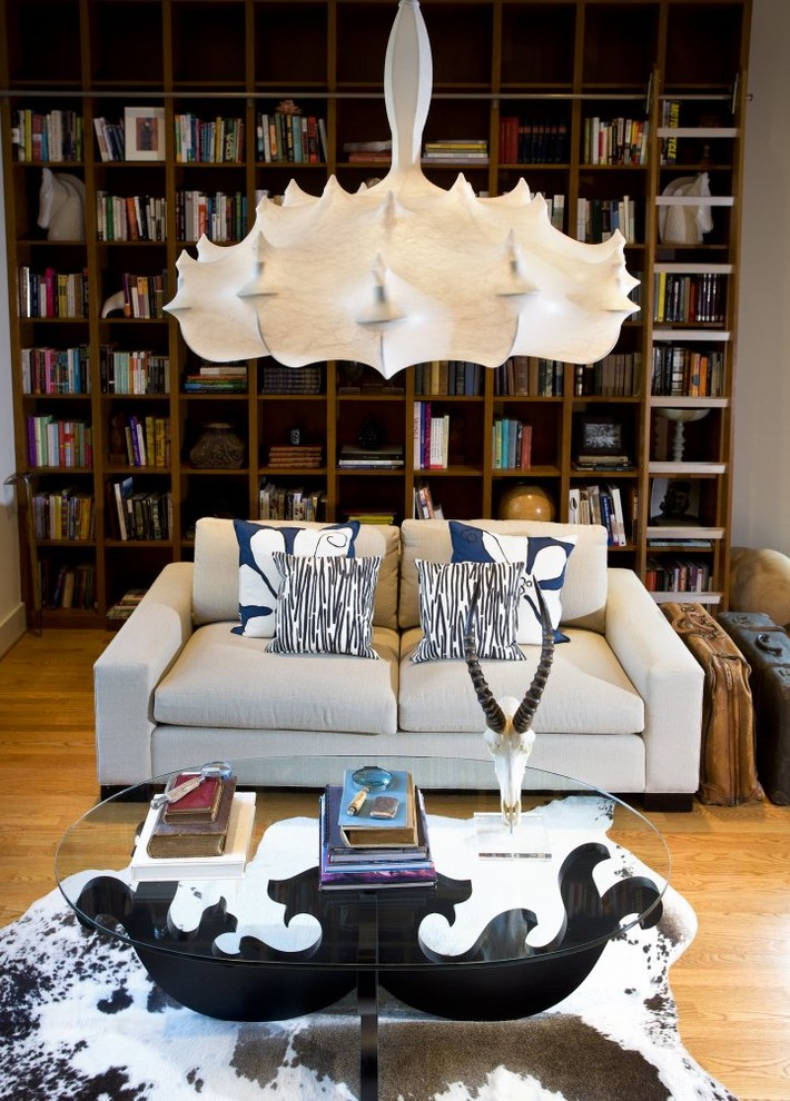 Family room library - contemporary family room library idea in Charlotte