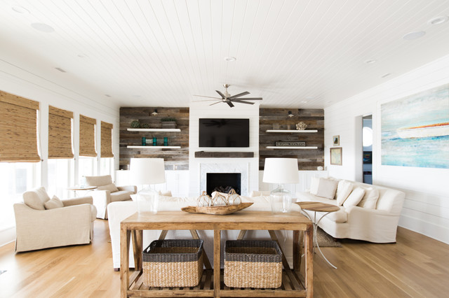 Inspiration for a beach style family room remodel in Charleston
