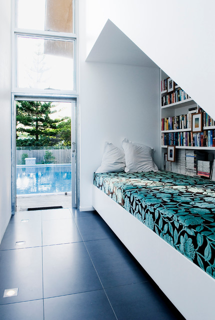 Trendy family room photo in Sunshine Coast with white walls