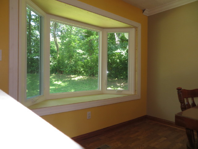 3 lite bay window installed family room st louis by