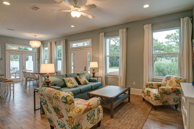 Inspiration for a beach style family room remodel in Austin