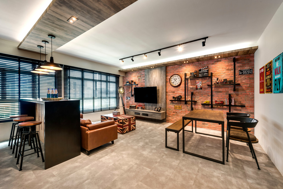 Inspiration for an industrial family room remodel in Singapore with white walls, no fireplace and a wall-mounted tv