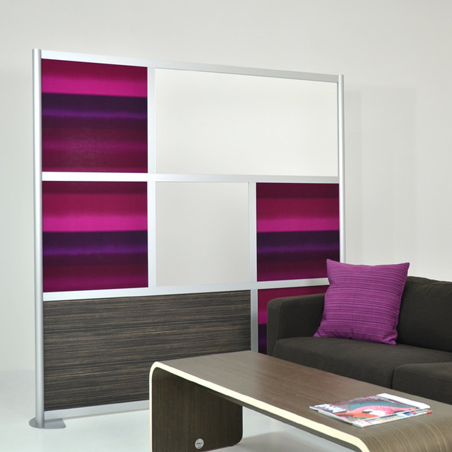 6' Modern Room Divider, White, Ebony Wood Laminate and Purple Custom panels - Modern - Family ...