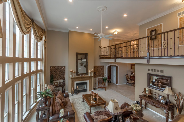 8 000 Square Foot Home 2 Story Greatroom With Catwalk Contemporary Family Room St Louis