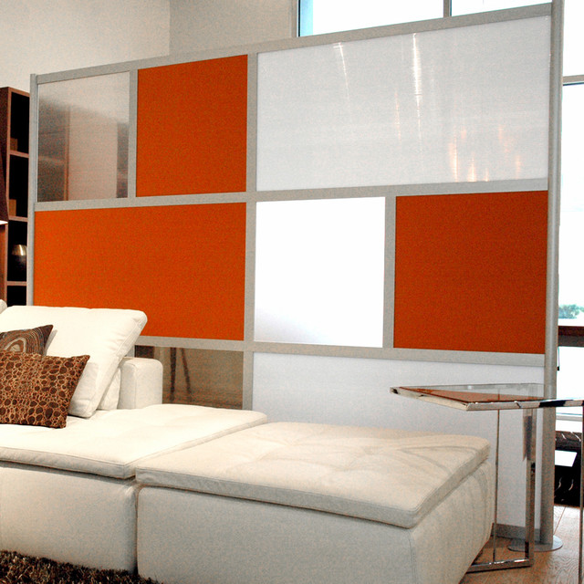 8 Modern Room Divider Orange White and Translucent panels